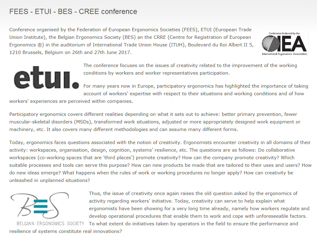 FEES - ETUI - BES - CREE conference