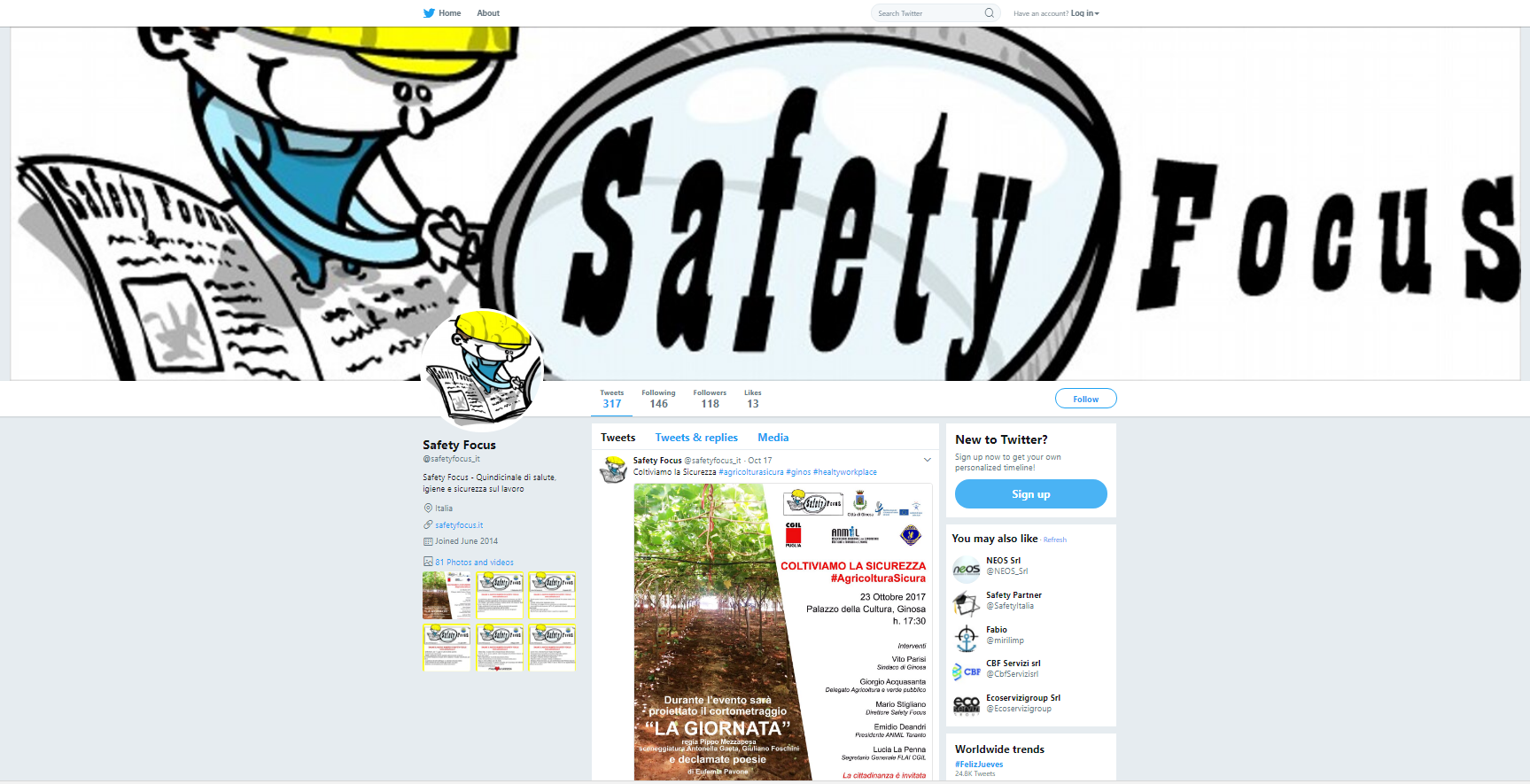 Safety Focus Twitter profile