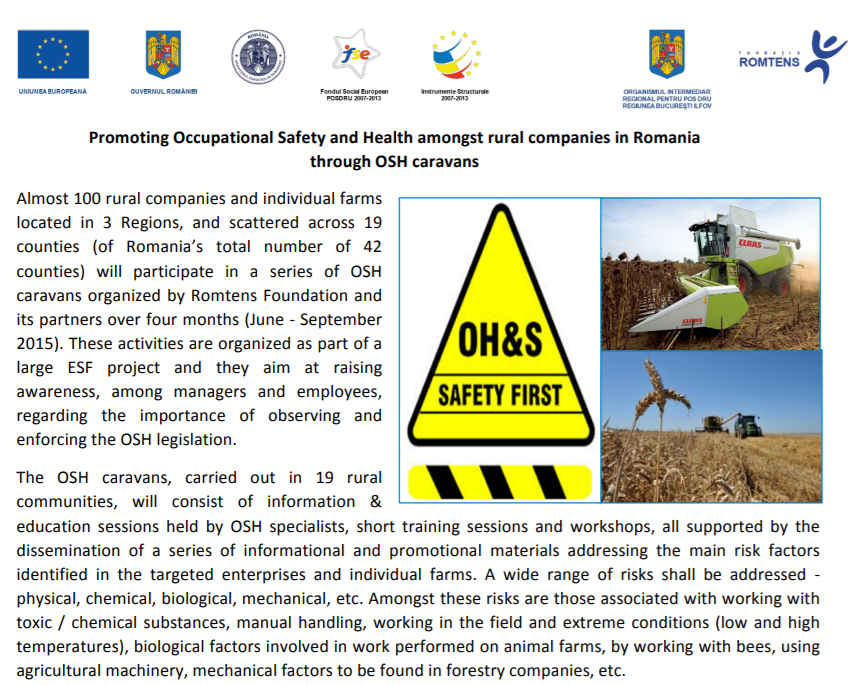 OSH caravans to promote Occupational Safety and Health in rural Romania