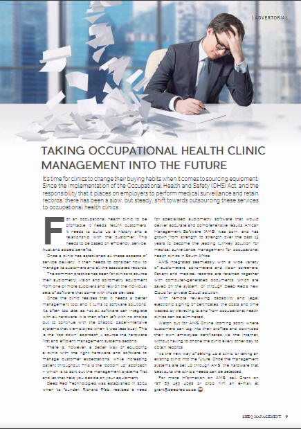 Occupational health clinic management article