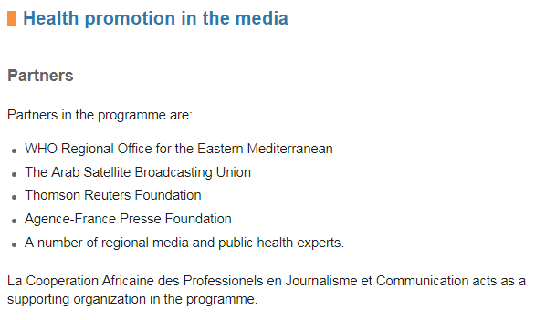 Health promotion in the media: Partners