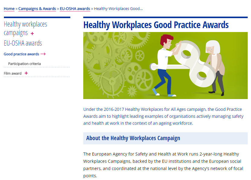 Healthy Workplaces Good practice Awards 2016-17