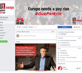 UNI Europa Facebook profile