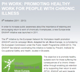 9th ENWHP initiative 'Promoting healthy work for employees with chronic illness'