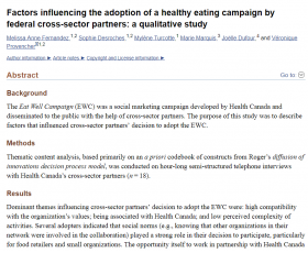 Factors influencing the adoption of a healthy eating campaign by federal cross-sector partners: a qualitative study