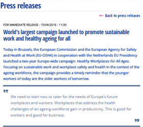 Launch of Healthy Workplaces for All Ages Campaign