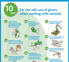 10 tips for the safe use of gloves when working with solvents